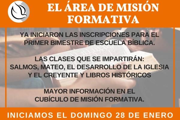 ANUNCIO DE MISION FORMATIVA - ENERO 2018